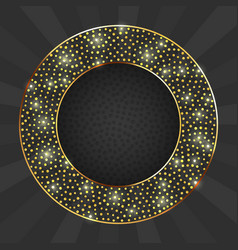 Black and gold card with gold circle frame vector
