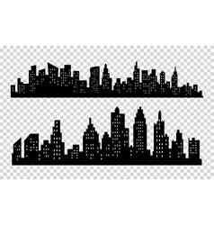 Black city silhouette icon set isolated on vector