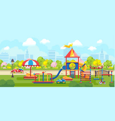 Bright city park with playground vector