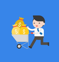 business man pushing cement cart full of money vector image