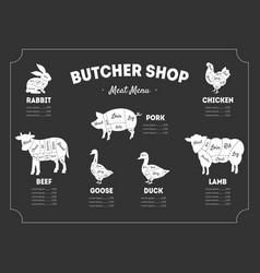 butcher shop label meat menu farm animals vector image