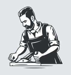 carpenter with jointer wood planer carpentry logo vector image
