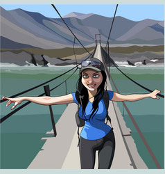 cartoon happy woman tourist is on the bridge over vector image vector image