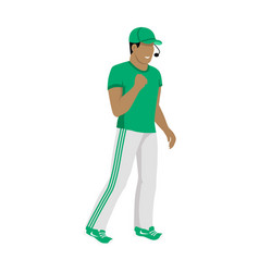 cartoon icon referee in green and white uniform vector image