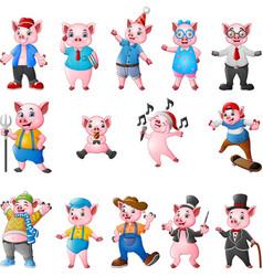 Cartoon pigs collection set vector