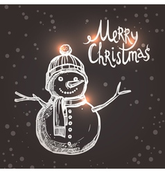 christmas card with sketch snowman vector image
