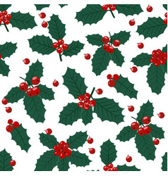 christmas seamless pattern with holly berries vector image