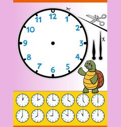 Clock face cartoon educational worksheet for kids vector