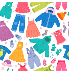 clothes pattern kids fashioned pants jackets vector image