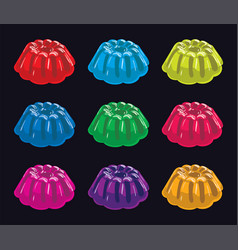 Colorful gelatin jelly assortment on black vector