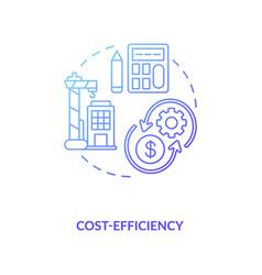 Cost-efficiency blue gradient concept icon vector