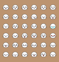 Cute seal emotion face in various expession vector