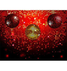 Disco balls over red sparkling tiles wall vector