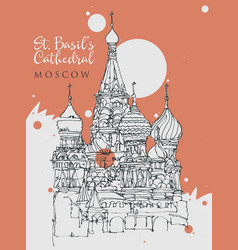 drawing sketch st basil cathedral in moscow vector image