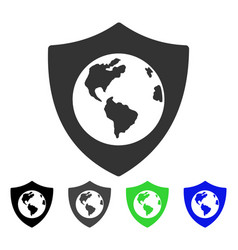 Earth shield flat icon vector