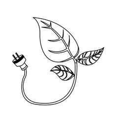 energy-saving leaves bulbs with power cable icon vector image