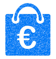 Euro shopping bag grunge icon vector