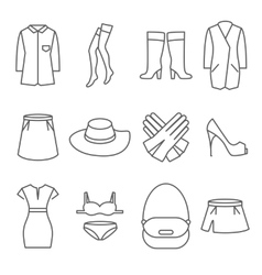 Female clothes line icons set vector