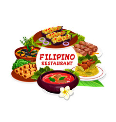 filipino cuisine dishes round frame vector image