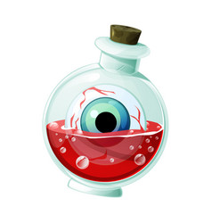 Flask with magic potion eye and blood for ui vector