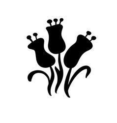 Floral hand drawn black three flowers in vector