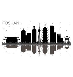 foshan china city skyline black and white vector image
