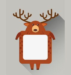 Frame design with cute deer shape vector