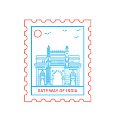 Gate way of india postage stamp blue and red line vector