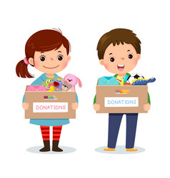 girl and boy holding donation box vector image