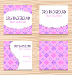 Girly purple floral pattern wedding card template vector