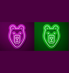 glowing neon line bear head icon isolated on vector image
