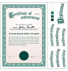Green certificate Template Vertical Additional vector