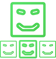 Green line happy logo design set vector