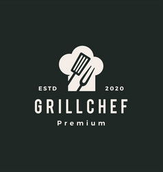 grill chef hat restaurant spatula fork hipster vector image