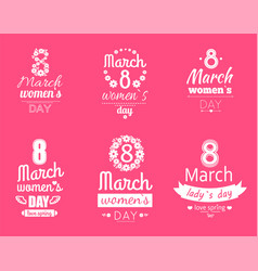 group of labels womens day march 8 greeting cards vector image