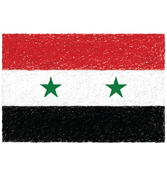 Hand drawn of flag of Syria vector