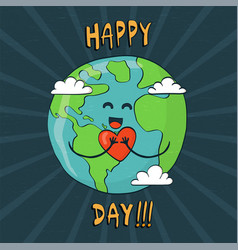 happy earth day card cute planet with heart vector image