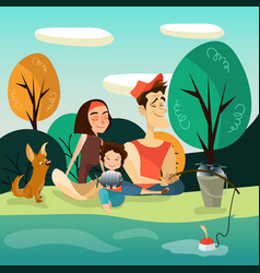 happy family fishing vector image