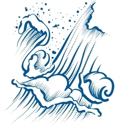 High sea wave with foam and spray vector