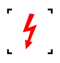 high voltage danger sign red icon inside vector image