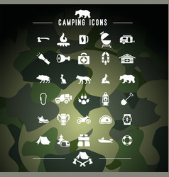 hiking camping icons set travel hike vector image