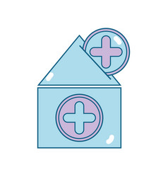 House blood dotaion with cross symbol vector
