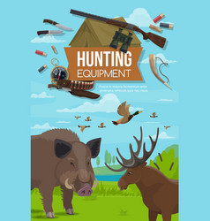 Hunting season animals hunter ammo equipment vector