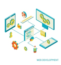 isometric of website analytics vector image