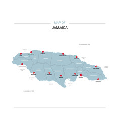Jamaica map with red pin vector