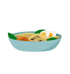 Japanese food ramen soup colorful asian meal vector