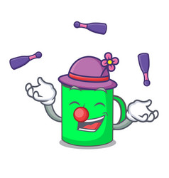 juggling mug mascot cartoon style vector image