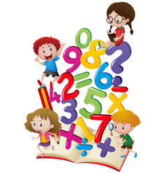 kids and numbers in the book vector image