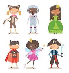 Kids of different nation in costumes for party vector