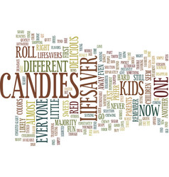 Lifesaver candies text background word cloud vector
